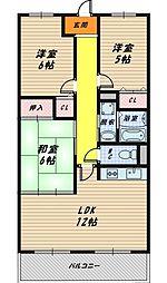大阪府大阪市城東区鴫野西3丁目の賃貸マンションの間取り