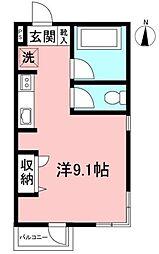 マンションF&A 2階ワンルームの間取り