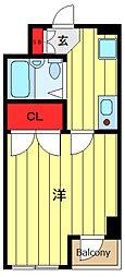 東京メトロ千代田線 町屋駅 徒歩5分の賃貸マンション 4階1Kの間取り
