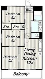 JR南武線 南多摩駅 徒歩6分の賃貸マンション 3階3LDKの間取り