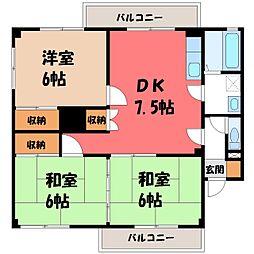 栃木県宇都宮市陽東4の賃貸アパートの間取り