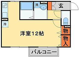 JR常磐線 天王台駅 徒歩24分の賃貸アパート 2階ワンルームの間取り