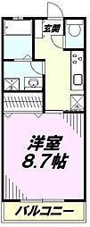 JR中央線 八王子駅 バス20分 中野団地下車 徒歩3分の賃貸アパート 2階1Kの間取り