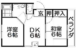 交久瀬ハイツA[2階]の間取り