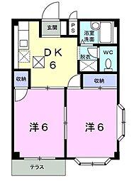 愛知県豊橋市多米中町1丁目の賃貸アパートの間取り