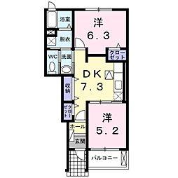 福岡県久留米市山川沓形町の賃貸アパートの間取り