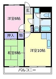 大阪府羽曳野市島泉9の賃貸マンションの間取り