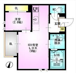 JR総武本線 東千葉駅 徒歩12分の賃貸アパート 1階1LDKの間取り
