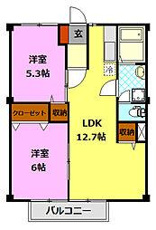 栃木県小山市駅東通り3丁目の賃貸アパートの間取り