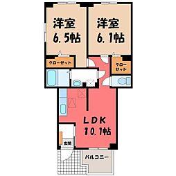 茨城県筑西市関本分中の賃貸アパートの間取り