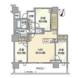 相鉄本線 海老名駅 徒歩3分の賃貸マンション 21階3LDKの間取り