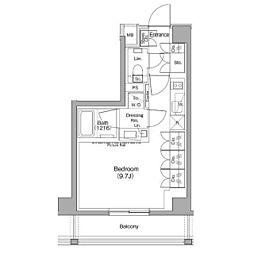 ザ・パークハビオ神泉 地下2階ワンルームの間取り