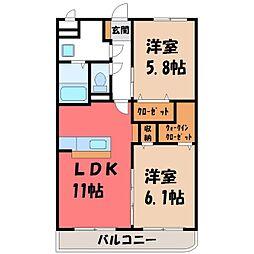 JR日光線 鶴田駅 徒歩16分の賃貸マンション 1階2LDKの間取り