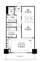 河田町コンフォガーデン1号棟[10階]の間取り