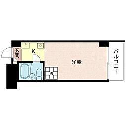 都営浅草線 人形町駅 徒歩3分の賃貸マンション 6階1Kの間取り