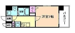 JR大阪環状線 野田駅 徒歩7分の賃貸マンション 10階1Kの間取り