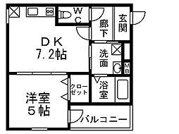 近鉄南大阪線 針中野駅 徒歩10分の賃貸アパート 1階1DKの間取り