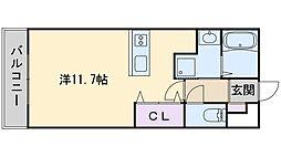 アイコート高取 5階ワンルームの間取り