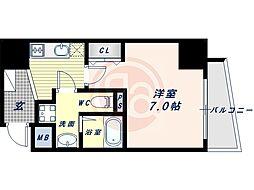 阪堺電気軌道上町線 松虫駅 徒歩3分の賃貸マンション 13階1Kの間取り
