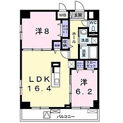 サンフィールド3 5階2LDKの間取り