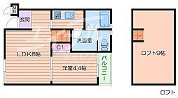 大阪府箕面市今宮2丁目の賃貸アパートの間取り