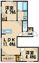 JR横浜線 淵野辺駅 バス12分 桜台1丁目下車 徒歩6分の賃貸アパート 1階2LDKの間取り