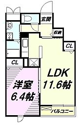 JR五日市線 武蔵引田駅 徒歩17分の賃貸マンション 3階1LDKの間取り