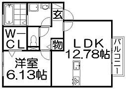 ルミエール東中振 A棟[2階]の間取り