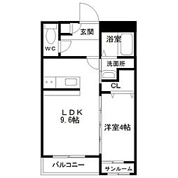 中間島新築マンション[303号室]の間取り