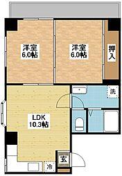 長崎県長崎市千歳町の賃貸マンションの間取り