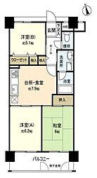 アンピール箱崎東2[6階]の間取り