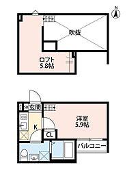 埼玉県蕨市塚越5の賃貸アパートの間取り
