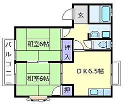 大阪府羽曳野市はびきの4丁目の賃貸アパートの間取り