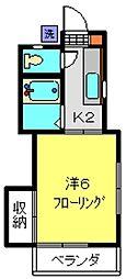 西沢アパート[202号室]の間取り