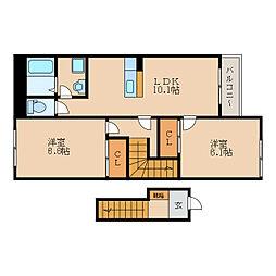 滋賀県守山市欲賀町の賃貸アパートの間取り