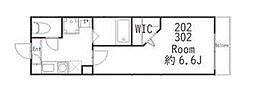 JR横須賀線 武蔵小杉駅 徒歩10分の賃貸アパート 2階1Kの間取り