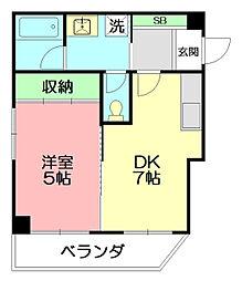 神奈川県平塚市宝町の賃貸マンションの間取り