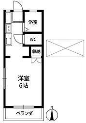 JR中央線 西国分寺駅 徒歩5分の賃貸アパート 2階1Kの間取り
