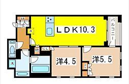 プレミスト東銀座築地Edge Court 9階2LDKの間取り