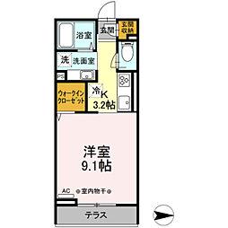 小田急小田原線 本厚木駅 徒歩10分の賃貸アパート 2階1Kの間取り