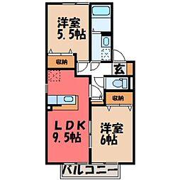 栃木県小山市大字雨ケ谷の賃貸アパートの間取り