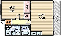 大阪府高石市綾園3丁目の賃貸マンションの間取り