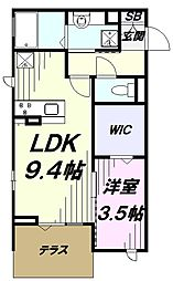 多摩都市モノレール 砂川七番駅 徒歩2分の賃貸アパート 1階1LDKの間取り