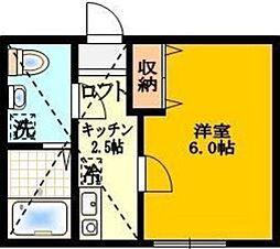 フローライト日吉 2階1Kの間取り