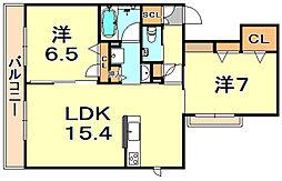 (仮称)シャーメゾン神戸市東灘区深江南町 3階2LDKの間取り