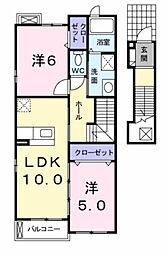 愛知県豊橋市牛川通5丁目の賃貸アパートの間取り