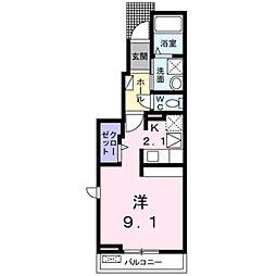 JR御殿場線 裾野駅 徒歩15分の賃貸アパート 1階1Kの間取り