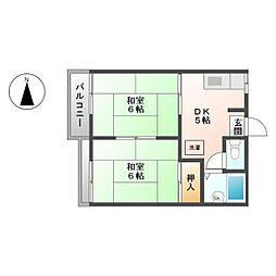 カツラコーポ B[2階]の間取り
