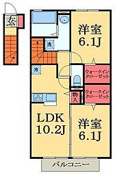 JR総武本線 佐倉駅 徒歩6分の賃貸アパート 2階2LDKの間取り