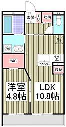 グランノワール 2階1LDKの間取り